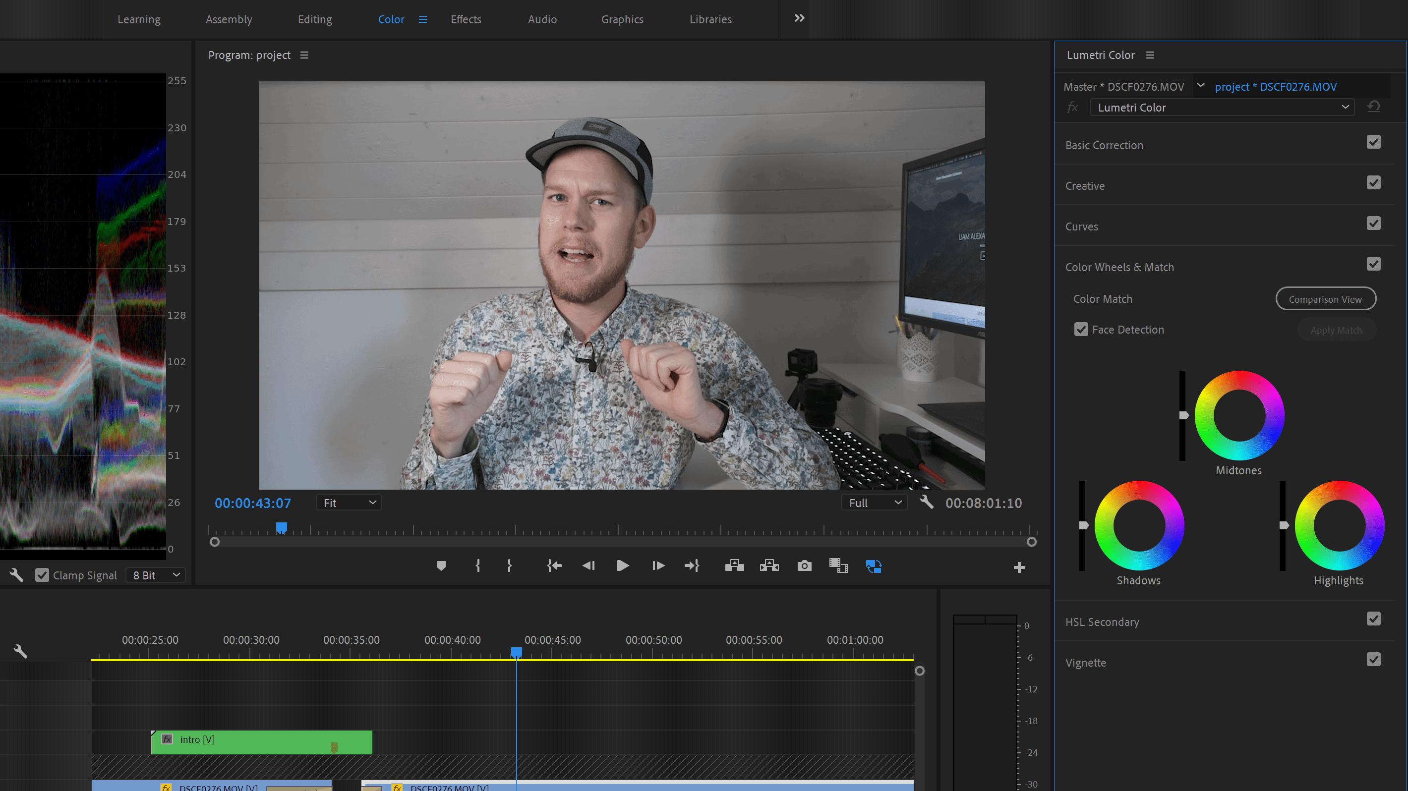 The Lumetri Colour panel in Premiere Pro