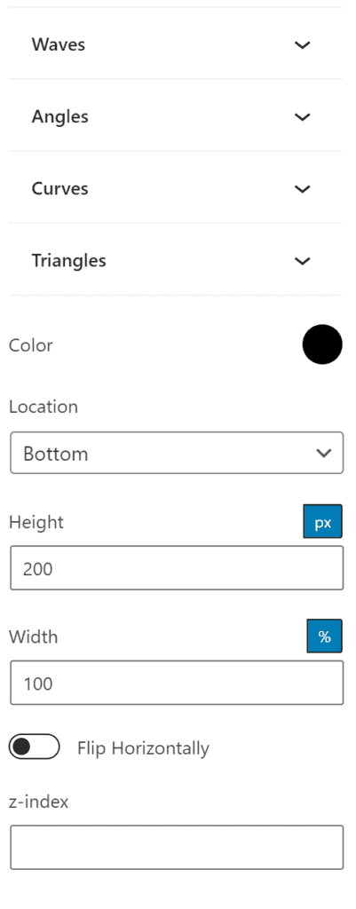 All the options for shape dividers in GenerateBlocks 1.2