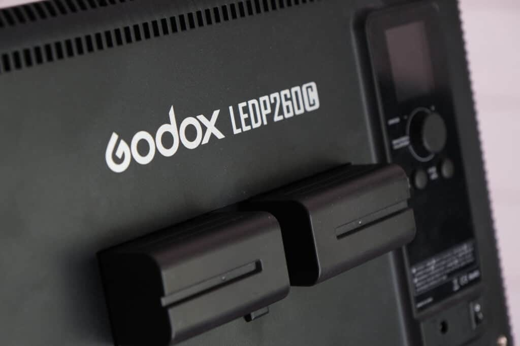 The back of the Godox LEDP260C, where two Sony NP-F750 batteries are mounted.