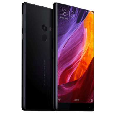 The first phone in the Xiaomi MI MIX line from the front and back.