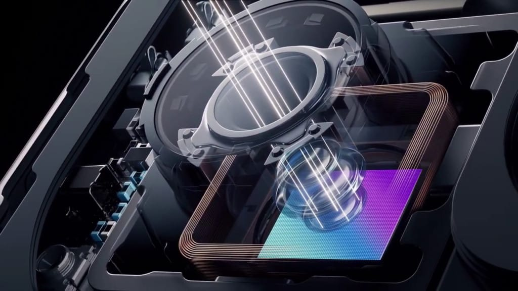 The Xiaomi MI MIX Fold liquid lens with a wide field of view